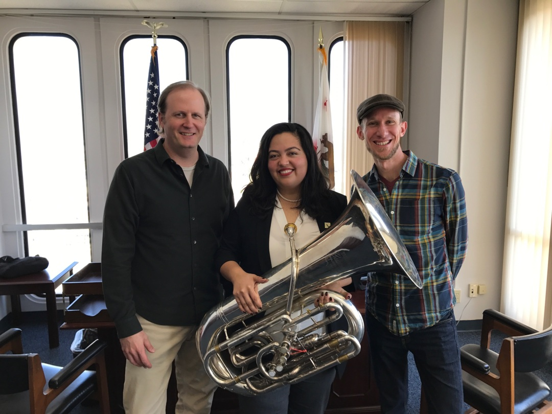 Musicians Chris Anderson-Bazzoli and Blake Cooper with Assemblywoman Wendy Carrillo.